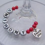 I Love You Personalised Wine Glass Charm